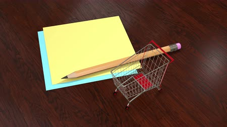 çıkartmalar : Shopping cart with blank shopping list animated video