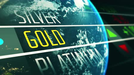 komisyoncu : Global gold price on stock exchange market animation concept Stok Video