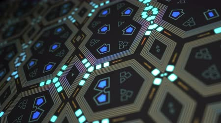 Abstract geometric technology patterns as a kaleidoscope animation
