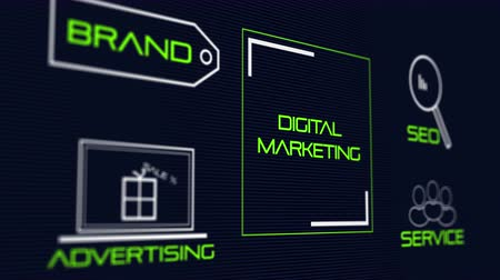 dizayn : Digital online marketing. Business social media marketing 4K UHD animation Stok Video
