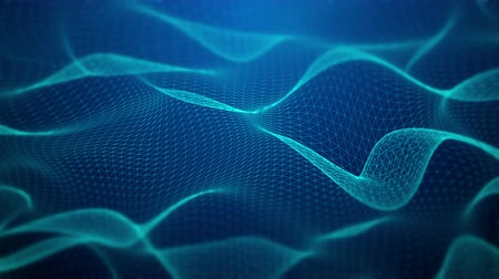 Abstract fractal blue mesh waves animation