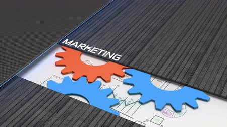Marketing planning animated concept with gear wheels and sketches loop Stock Footage