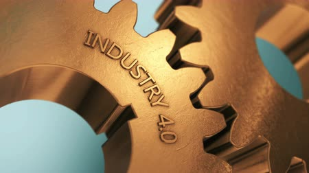 Industry 4.0 Revolution. Rotating golden wheels 3D animation. Stock Footage