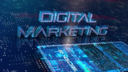 Digital marketing, science and research modern virtual smart device. Creating digital information content. 4K UHD 3D video animation. Stock Footage