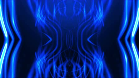 Abstract 3D fractal blue neon light beam curve. Dynamic intro background seamless loop animation. Stok Video