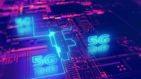 5G fifth generation cellular network technology. Broadband access animated 4K UHD 3D video loop concept.
