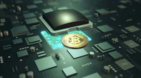 Cryptocurrency Bitcoin virtual payment symbol of future. Mining Bitcoin on circuit board animation video loop. Stock Footage