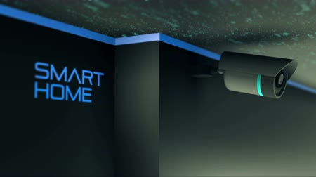 electronica : Bewakingscamera en smart home. 4K UHD oneindige lus 3D-video-animatie. Stockvideo