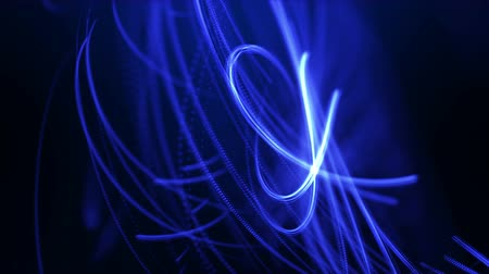 Abstract 3D fractal blue neon light beam curve. Dynamic intro background seamless loop animation. Stock Footage