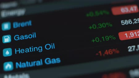 Prices of fuel energy commodities - brent, gasoil, natural gas, heating oil on stock market in smartphone. Video 4K UHD. Stok Video