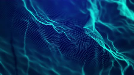 Dynamic abstract vector blue mesh waves. Animated 4K UHD intro background wireframe loop.