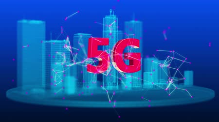 5G generation wireless network technology. Broadband access 3D smart city. Video 4K UHD loop