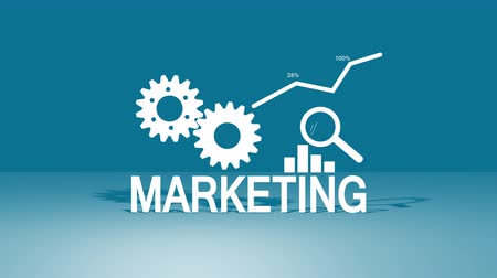 Business marketing - development and analysis in flat video animation Stok Video