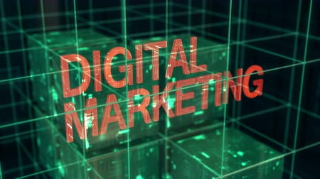 Digital marketing word and business development. Vision and innovation 3D video animation. Stok Video