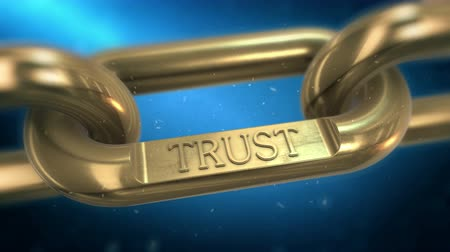 bağlılık : Trust building symbol. Golden chain as trusted business partnership. 4K UHD video animation. Stok Video