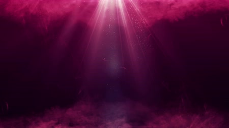 Magic mystery smoke and red ruby beams with dust. 4K UHD animated Christmas video seamless loop background. Stok Video