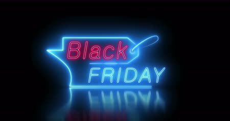 Black Friday Sale Design Neon Signboard Video Loop Animation