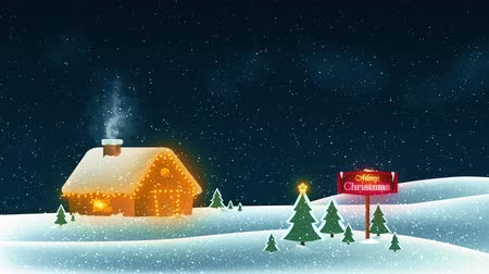 Merry Christmas wish card background template. Falling snow with a snowy cottage. 4K UHD animated video loop. Stok Video