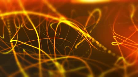 Abstract orange waves curves ripple motion and blurred background decoration. UHD 4K seamless loop video. Stok Video