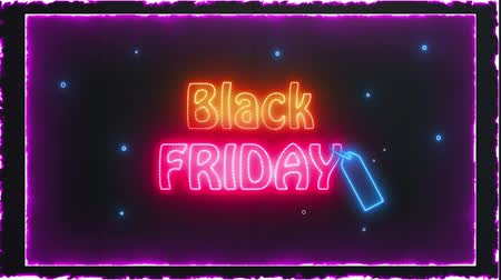 Black Friday Sale Design Neon Halftone Signboard Promotion Video Loop Animation