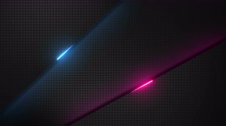 Abstract red and blue glowing light beam metal geometric background design template video animation Stok Video