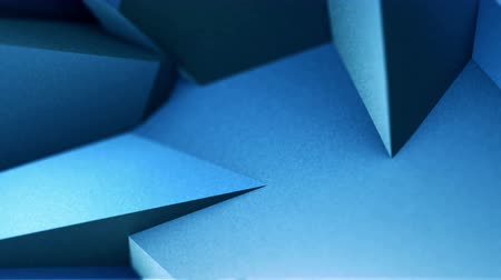 Abstract blue folded geometric shapes polygons 3D video animation design background template Стоковые видеозаписи