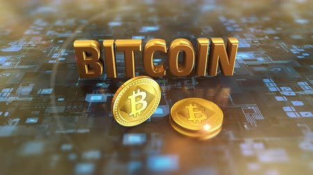 Bitcoin symbol cryptocurrency symbol in finance investment stock market. 4K UHD 3D video animation.