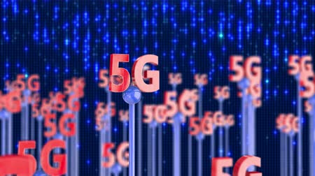 5G generation wireless network technology. Broadband access 3D concept 4K UHD video seamless loop. Стоковые видеозаписи