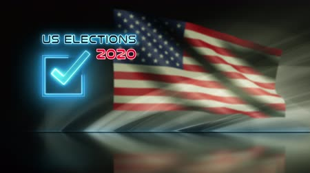 president of united states : Ballot for presidential US election 2020 video animation loop background concept. American flag waving in wind.