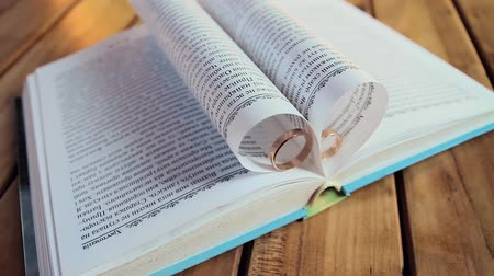 dois objetos : Ring located between the pages of an open book.