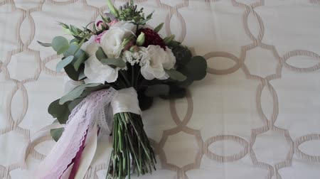 Bouquet flowers. Festive bouquet of fresh flowers. Wedding bridal bouquet. Wedding flowers.