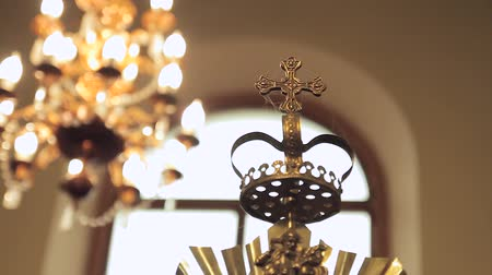 victorian : Chandelier in the church against the background of the great iconostasis