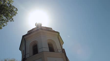 aberto : sun rays from the window of the church Stock Footage