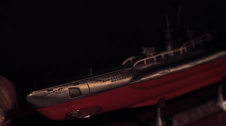 океаны : Decorative model of a submarine Стоковые видеозаписи