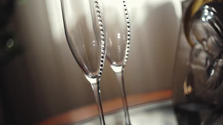 champagne flute : Wedding glasses made of crystal Stock Footage