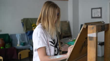 escovação : Young girl with draws on aneasel.