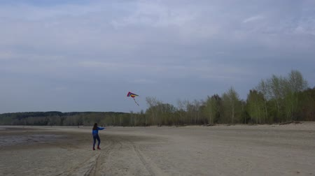 uçurtma : Girl with a kite on the shore