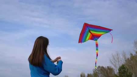 Girl with a kite in nature