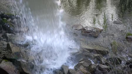 Water in a waterfall falls on a stone close up Stock Footage