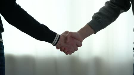 Two men shake hands Stock Footage