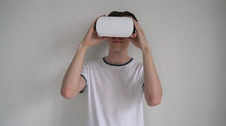 Portrait of a man with glasses of virtual reality. Stock Footage
