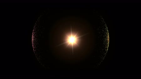 křivky : Colourful Sphere  Particles with lens flare  Glowing abstract background or  template using as Animation Motion Graphic on black background 4K