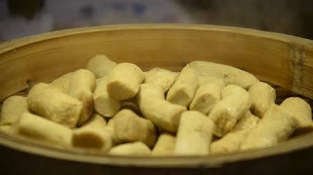 bamboo steamer : Hot steamed dumpling in gourmet market of chinese street food