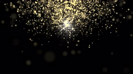 złoto : Glowing star particle in random direction 3D render abstract background animation motion graphic with copy space on black background Wideo