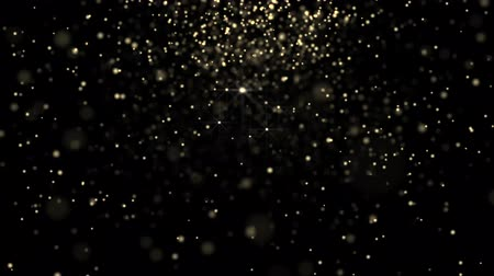 mágico : Golden glowing star particle in random direction  abstract background animation motion graphic 3D render with copy space on black background Stock Footage