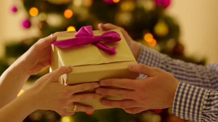 dát : Closeup shot of male hands holding a box with Christmas present and giving it to woman. Christmas tree with sparkling fairy lights on the background. Dostupné videozáznamy