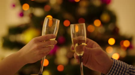 szampan : Closeup shot of man and woman hands clinking glasses with champagne and toast the Christmas. Christmas tree with sparkling fairy lights on the background.