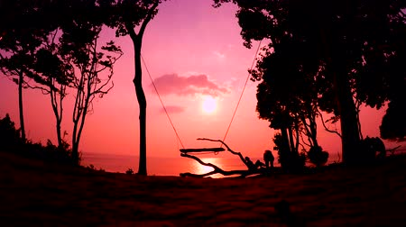 Silhouette of the Swings at Sunset Stock Footage