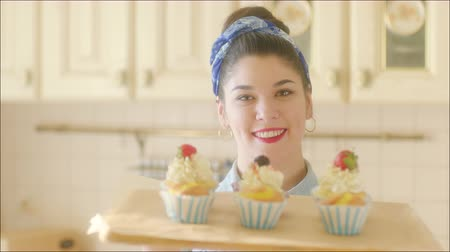 Smiling Woman with Pastry Cakes on the Tray Stock Footage