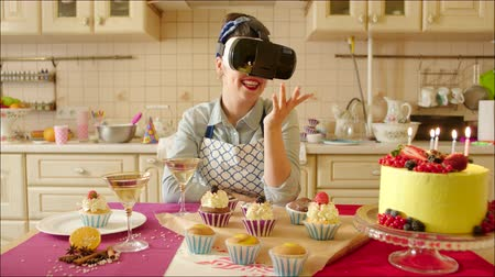 Pastry Chef in VR Glasses Stock Footage